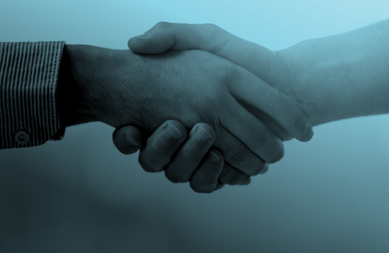 Banner of two people shaking hands